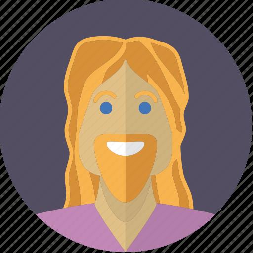 avatar, bearded, blond, face, hair, hippie, man icon
