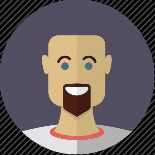 avatar, bald, bearded, face, guy, male, man icon