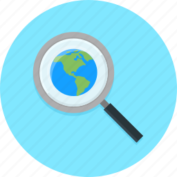 look up, magnifier, search, searching, world icon