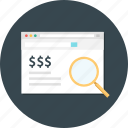 paid, paid search, search, search dollar, search money icon