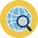 earth, globe, magnifier, map, planet, search, world icon