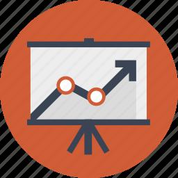 board, chart, graph, line graph, office board, presentation, projector icon