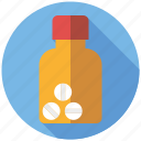 bottle, drugs, medicine, pharmaceutics, pills, tablets icon