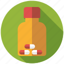 bottle, capsules, drugs, medicine, pharmaceutics icon
