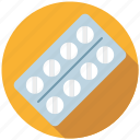 blister, drug, medicine, package, pharmaceutics, pills, tablet icon