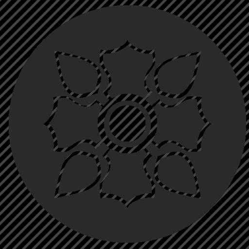 bud, flower, ornament, round icon
