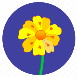 flower, nature, plant, round, yellow icon