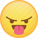 angry, emoji, mad, rage, react, taunt, tongue icon