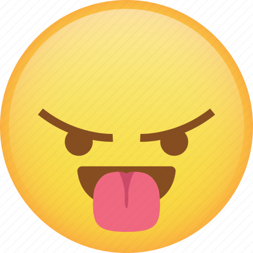 angry, emoji, mad, rage, react, taunt, tongue icon