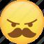 angry, emoji, mad, mustache, rage, react icon
