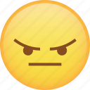 angry, emoji, flat face, mad, rage, react, taunt icon