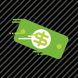 bill, dollar, fast, money, motion, speed, streak icon