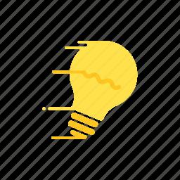 creativity, fast, ideas, light bulb, motion, speed, streak icon