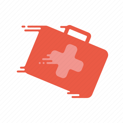 fast, first aid, kit, motion, speed, streak, suitcase icon