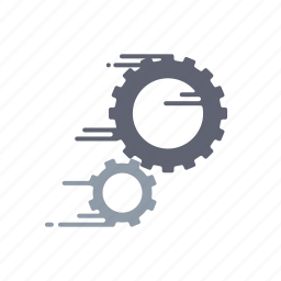 cogs, fast, gears, motion, settings, speed, streak icon