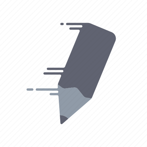 fast, motion, office, pencil, speed, streak, writing instrument icon