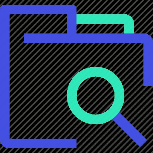 archive, data, file, folder, search icon