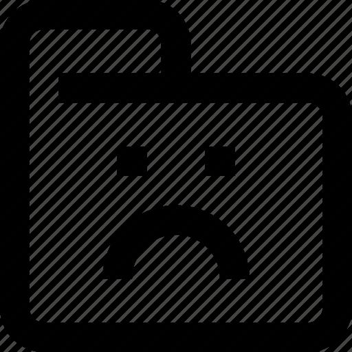 document, face, folder, sad, status icon