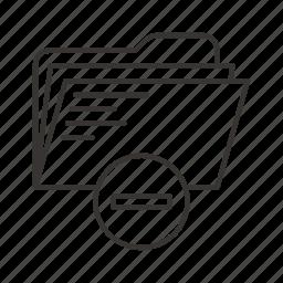 directory, documents, file, files, folder, minus, remove icon