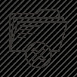 decline, directory, document, file, files, folder, remove icon