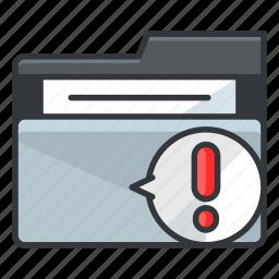 alert, danger, folder, folders, warning icon
