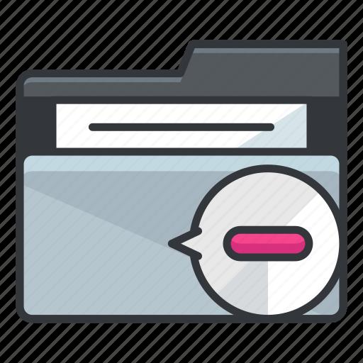 delete, file, folder, folders, minus, remove icon
