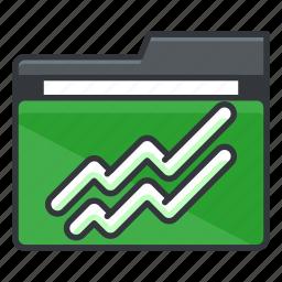 chart, file, folder, folders, line icon
