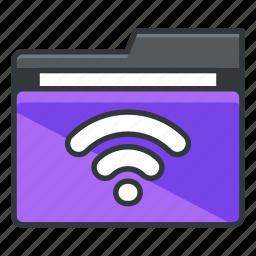 folder, folders, internet, wifi, wireless icon