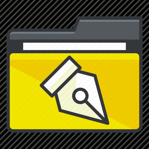 file, folder, folders, pen, write icon