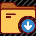 arrow, directory, down, download, folder, office icon