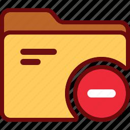delete, directory, folder, minus, office, remove icon