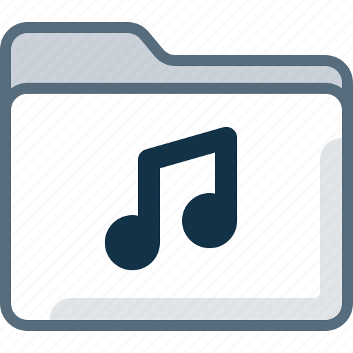 audio, directory, folder, music, note, office icon