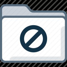 block, denied, directory, error, folder, office icon