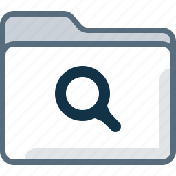 directory, folder, magnifier, office, search icon