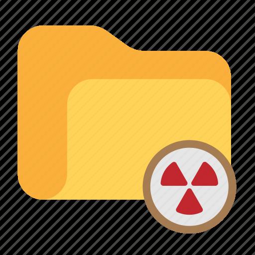 catalog, catalogue, directory, folder, nuclear, trash, warning icon