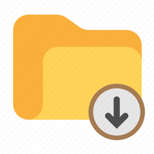 arrow, arrow down, catalog, catalogue, directory, download, folder icon