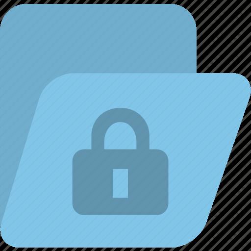 blue, folder, lock icon