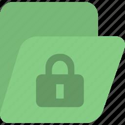 document, folder, green, lock, protection icon