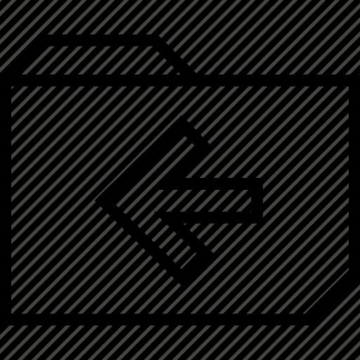 arrow, back, folder icon