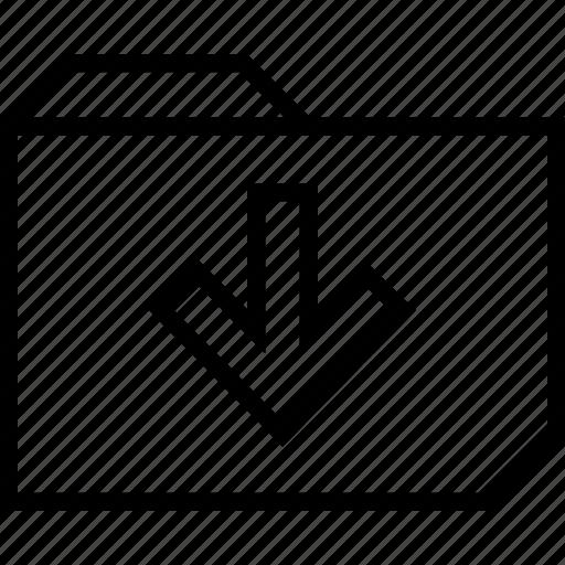 arrow, download, folder icon