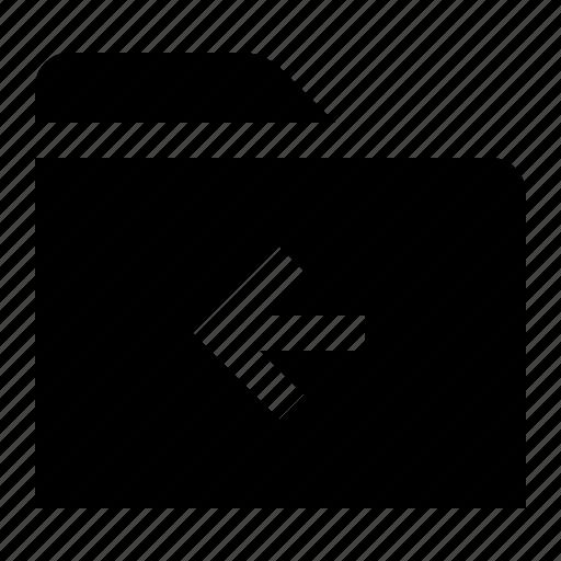 back, directory, file, folder, folio, left, previous icon