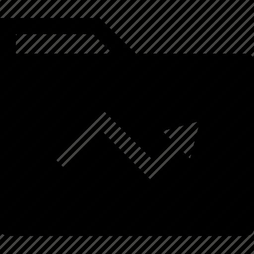 analytics, arrow, folder icon