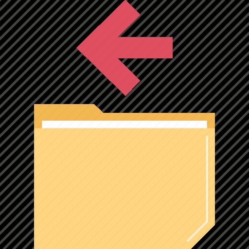 back, folder, left, point icon