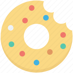 bakery food, bite donut, confectionery, donut, doughnut icon