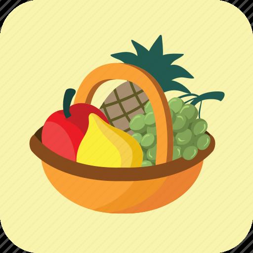basket, buying, food, fruits, healthy, large, many icon