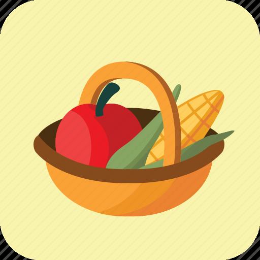 basket, buying, diet, food, fruit, medium, vegetable icon