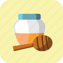 glass, honey, honey dipper, jar, spoon, sweet, wooden icon