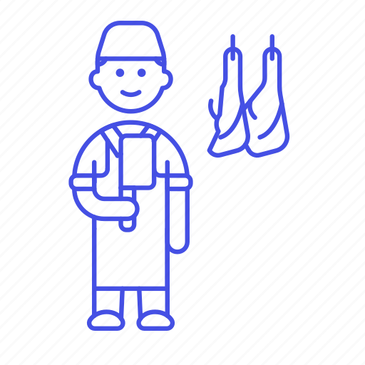 butcher, butchery, food, hanger, hanging, knife, man, manufacturing, meat, shop icon