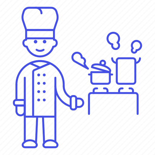 1, blanche, chef, cook, cooking, cookware, food, hat, kitchen, male, pot, restaurant, stock, stove, toque icon