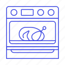 appliance, baking, chicken, cooking, food, in, kitchen, oven, turkey icon